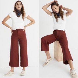 Madewell Emmett Wide-Leg Crop Burgendy Pants 30